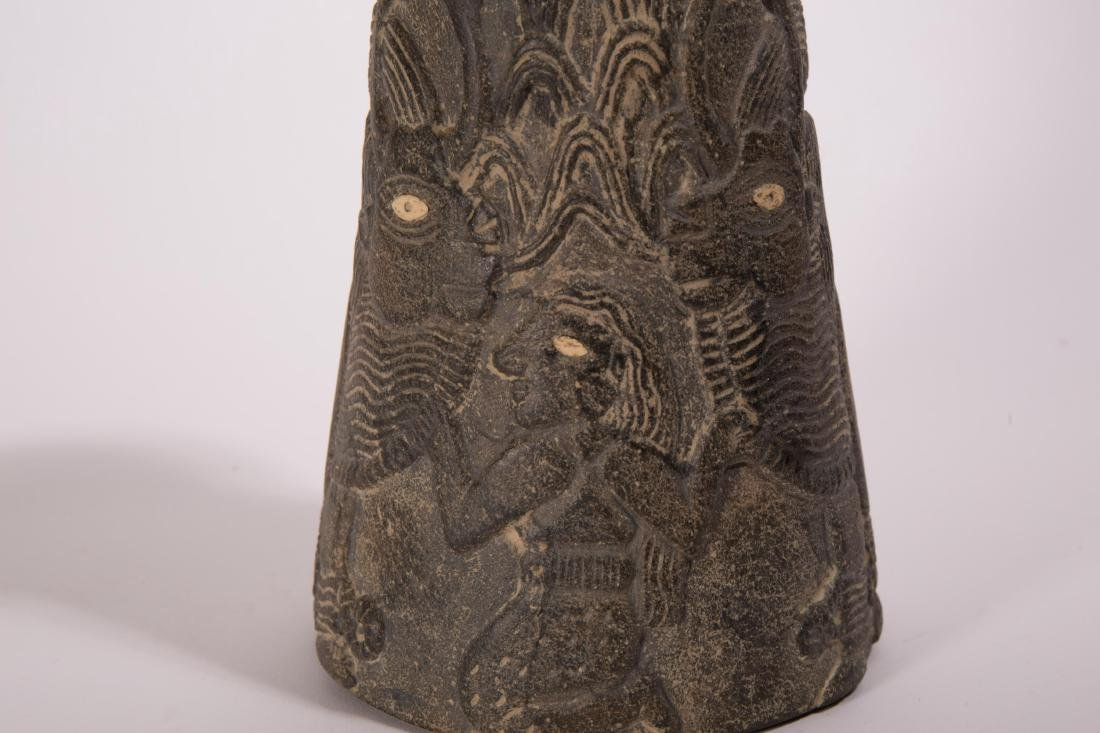 NEAR EASTERN STONE CARVED VASE WITH ANIMALS AND FI - 3