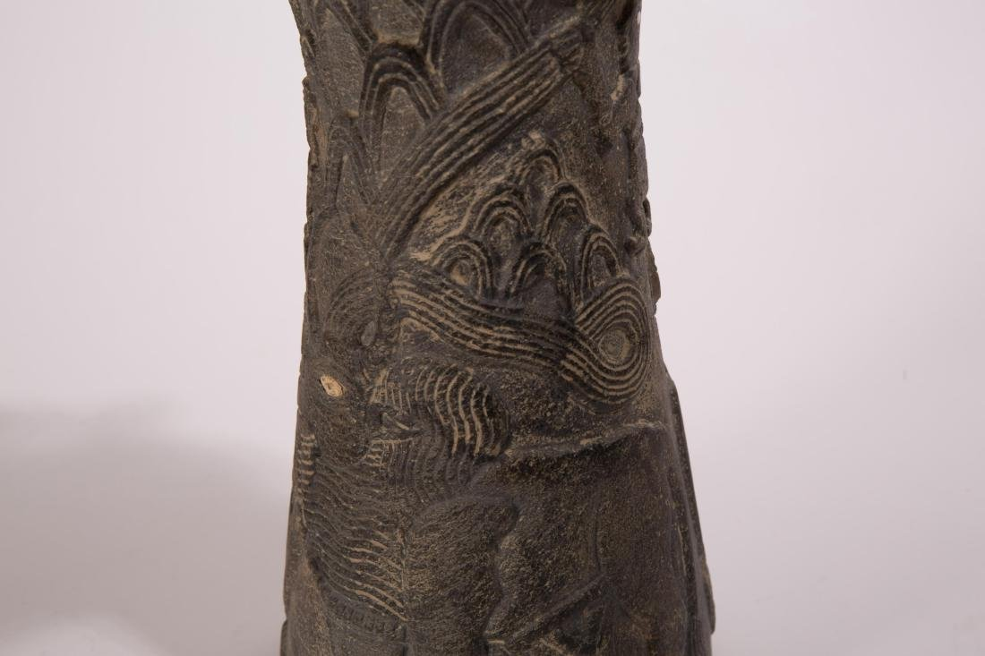 NEAR EASTERN STONE CARVED VASE WITH ANIMALS AND FI - 4
