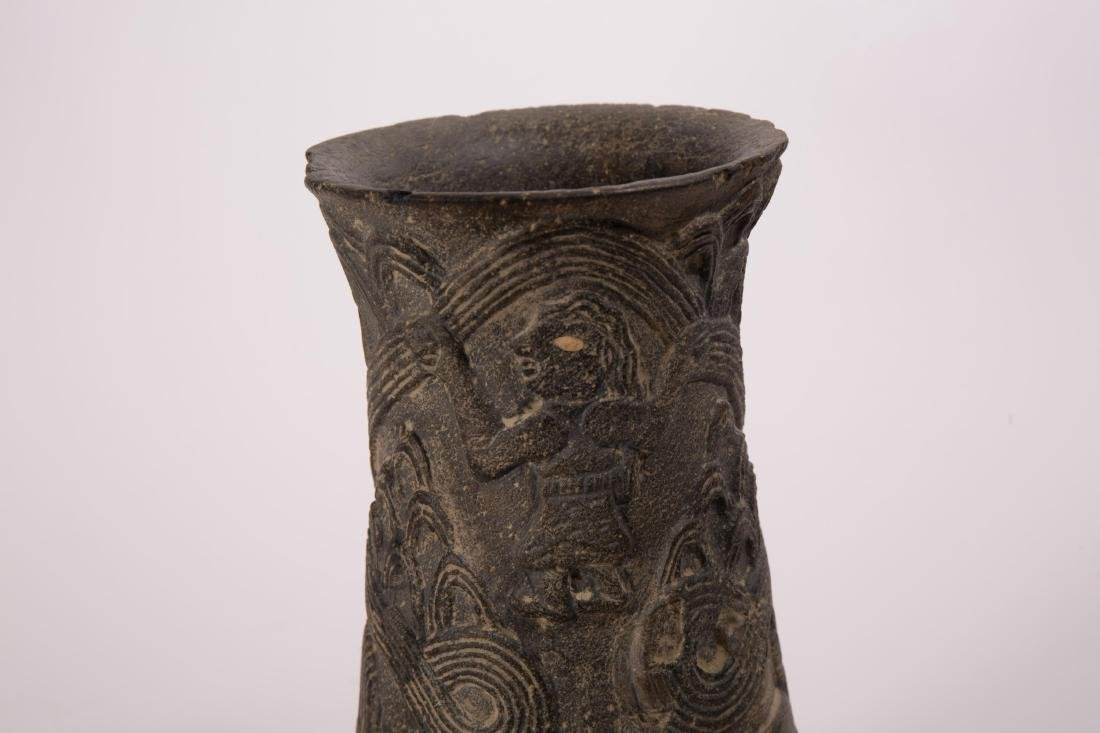 NEAR EASTERN STONE CARVED VASE WITH ANIMALS AND FI - 5