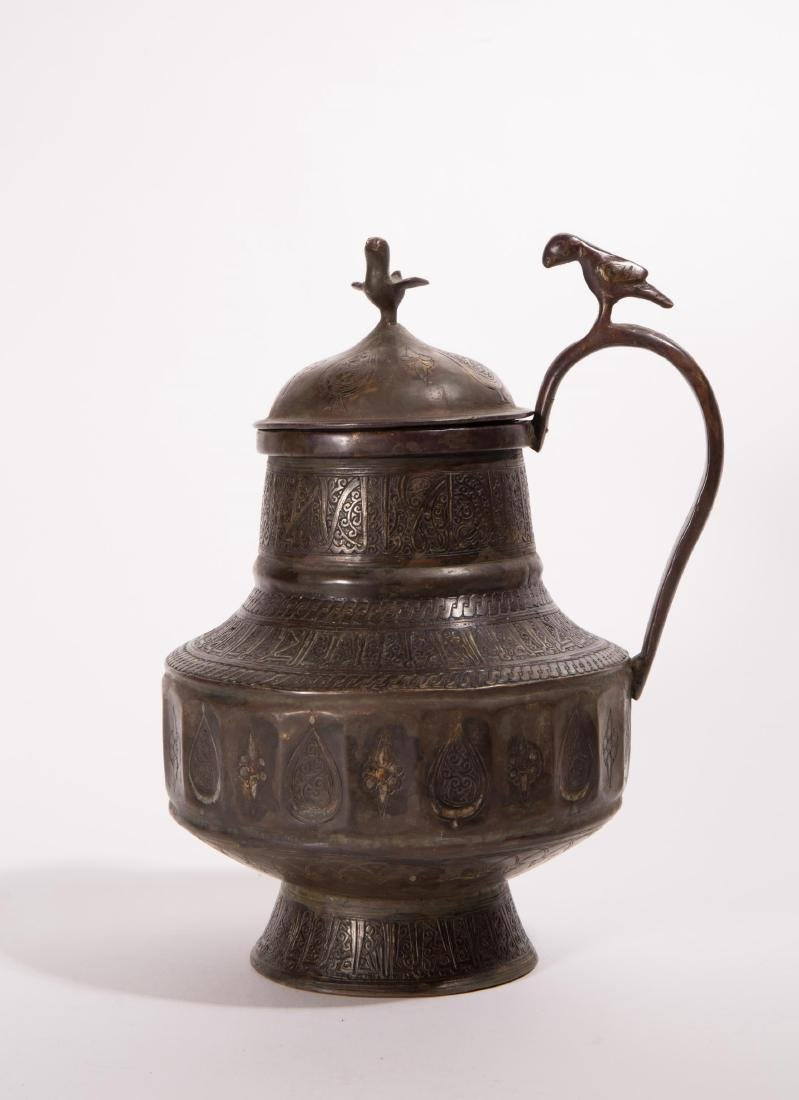 ANTIQUE ISLAMIC BRONZE PITCHER SILVER INLAY