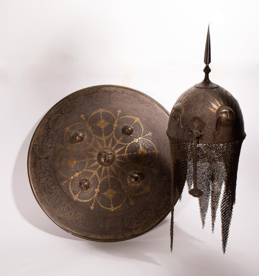 ANTIQUE ISLAMIC PERSIAN HELMET AND SHIELD