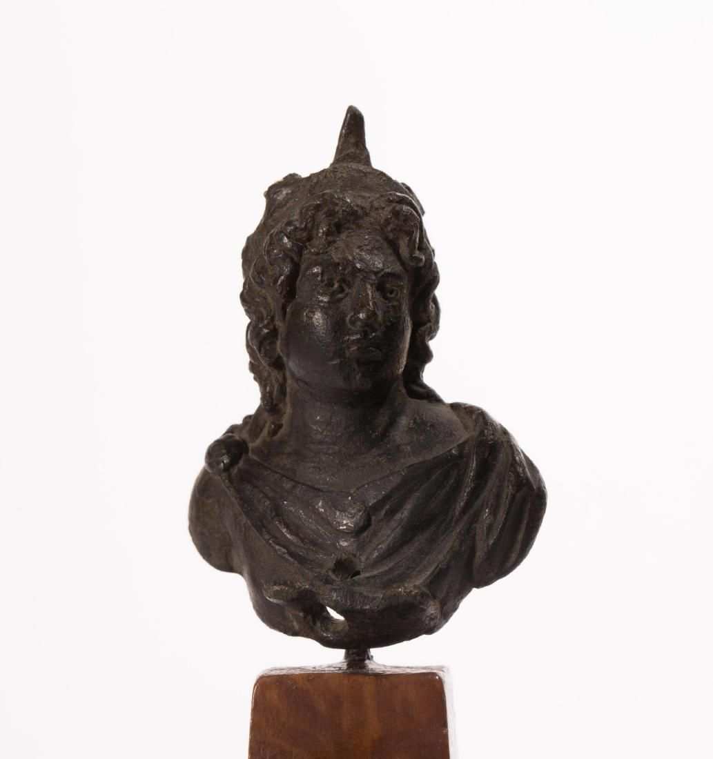 A HANDSOME ROMAN BRONZE BUST OF THE GOD SOL