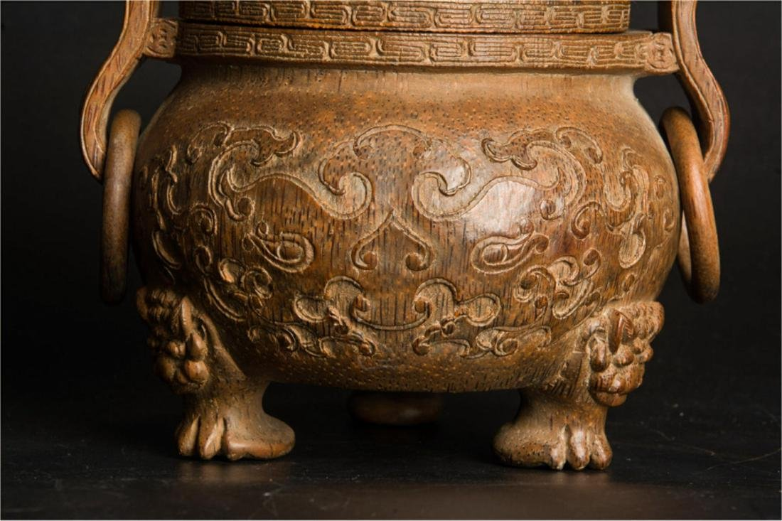 CHINESE BAMBOO CARVED INCENSE CENSER - 3