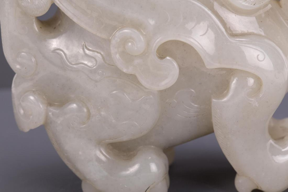 CHINESE WHITE JADE VASE IN BEAST SHAPE - 5