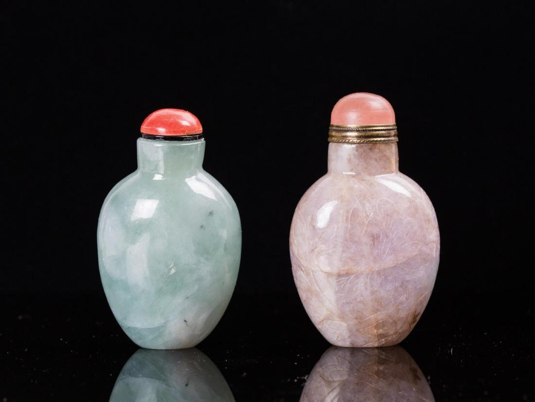 TWO CHINESE JADEITE SNUFF BOTTLES