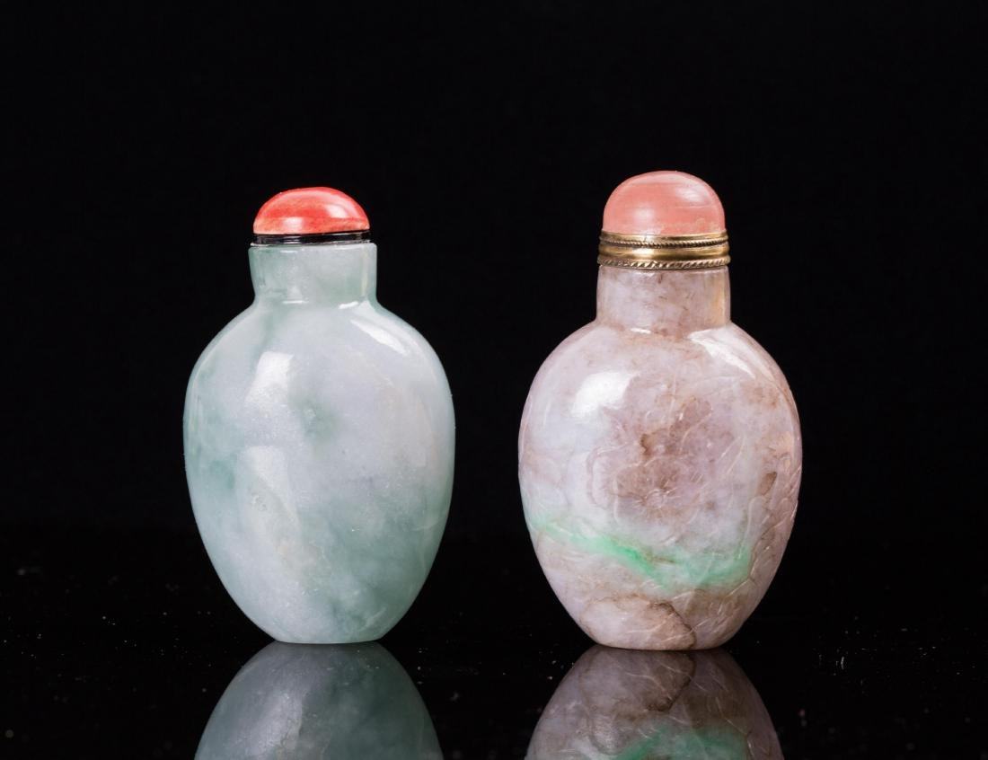 TWO CHINESE JADEITE SNUFF BOTTLES - 2