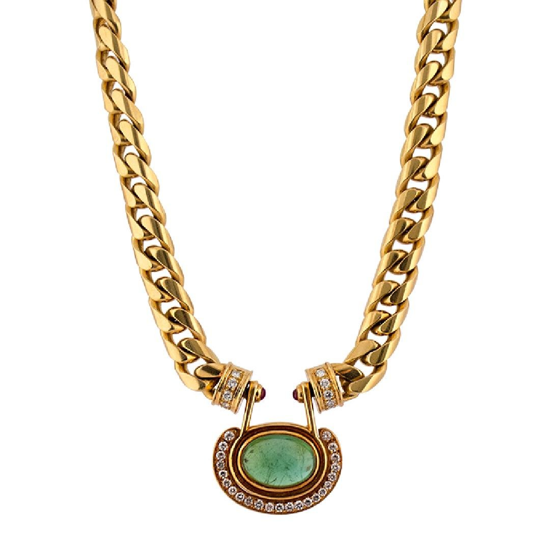 Necklace with central green stone and diamonds