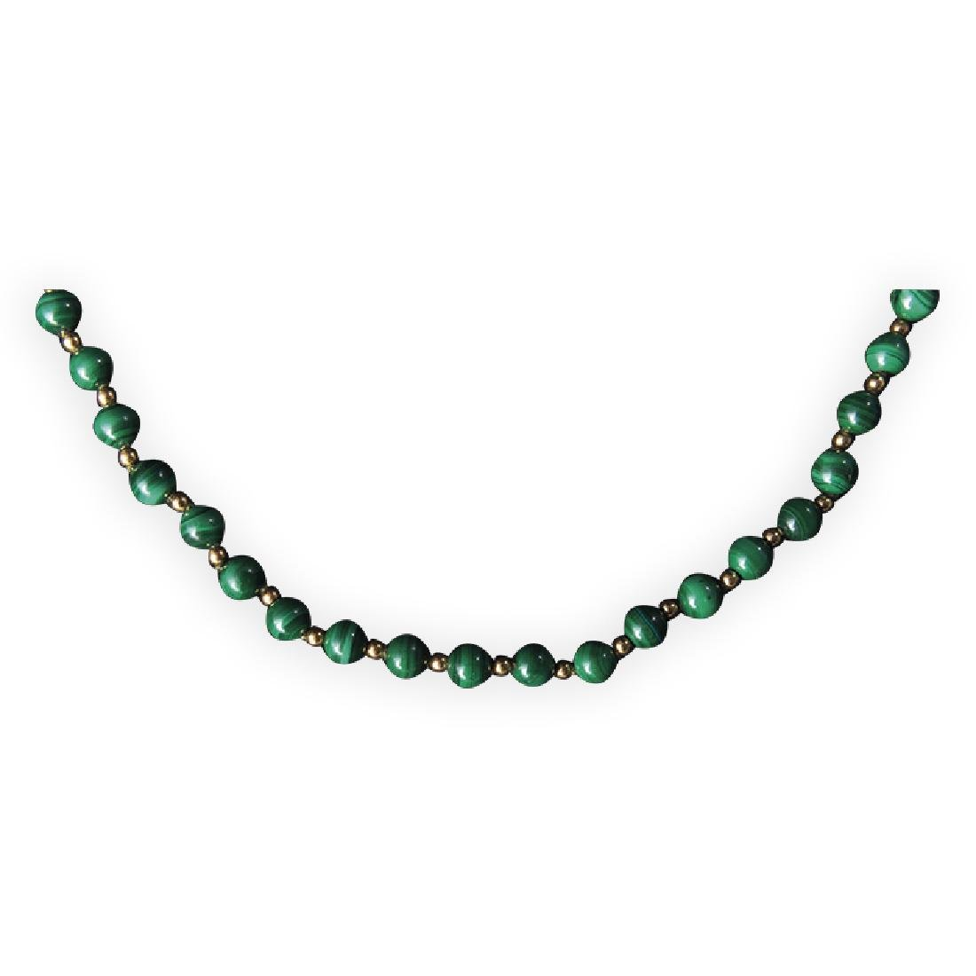 Necklace with malachite balls