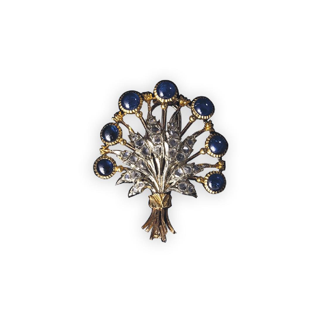 BUCCELLATI brooch with sapphires and diamonds