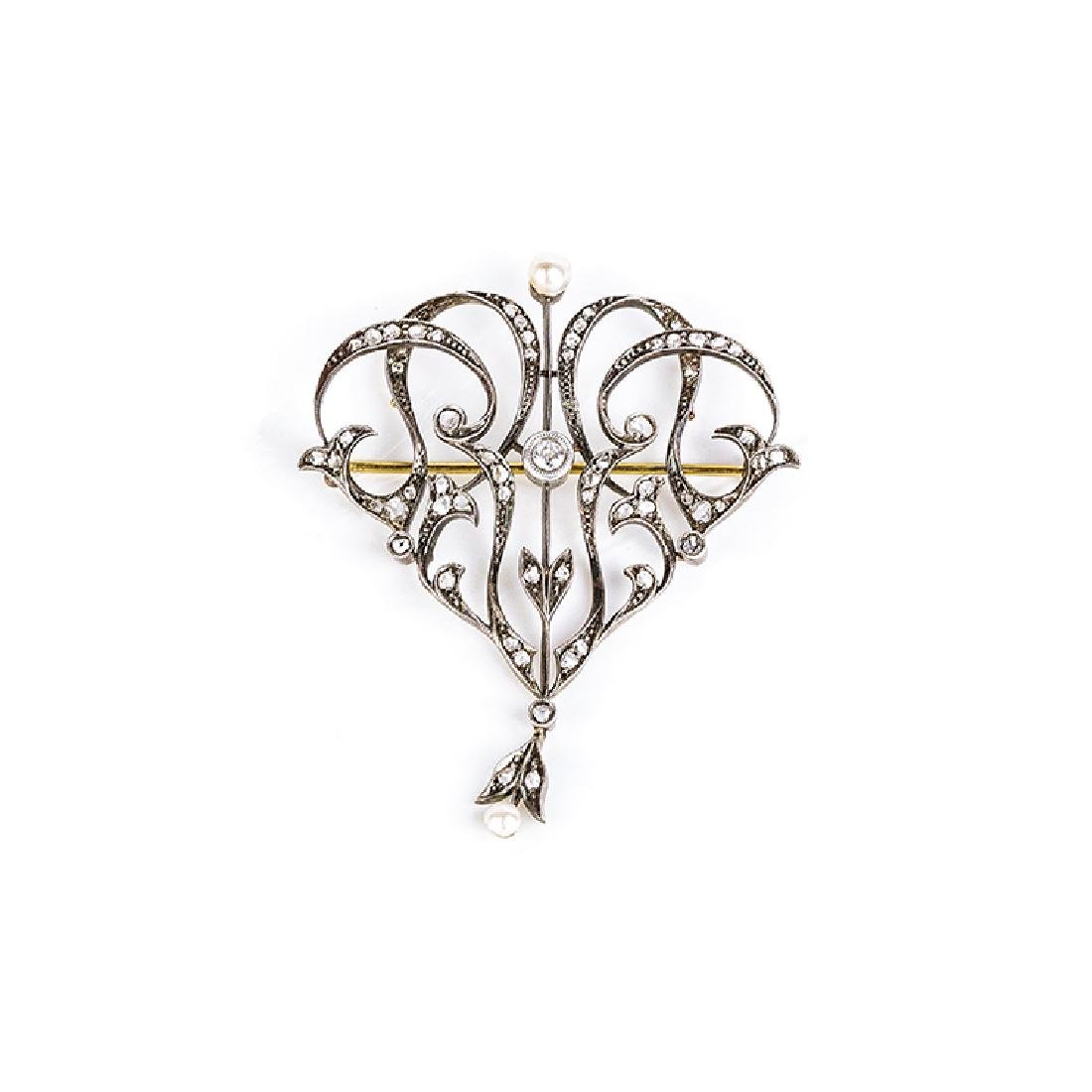 Liberty pendant/brooch with pearls and diamonds