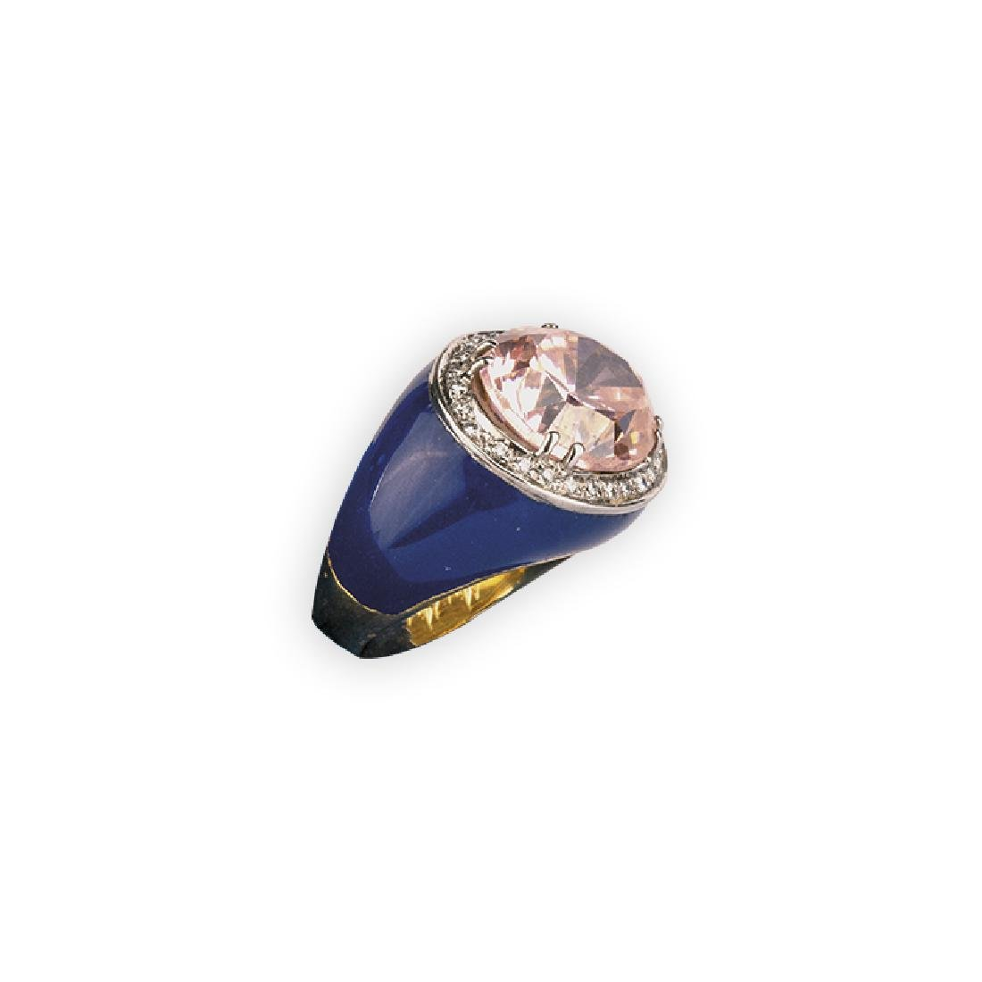 Ring with pink quartz and blu enamel