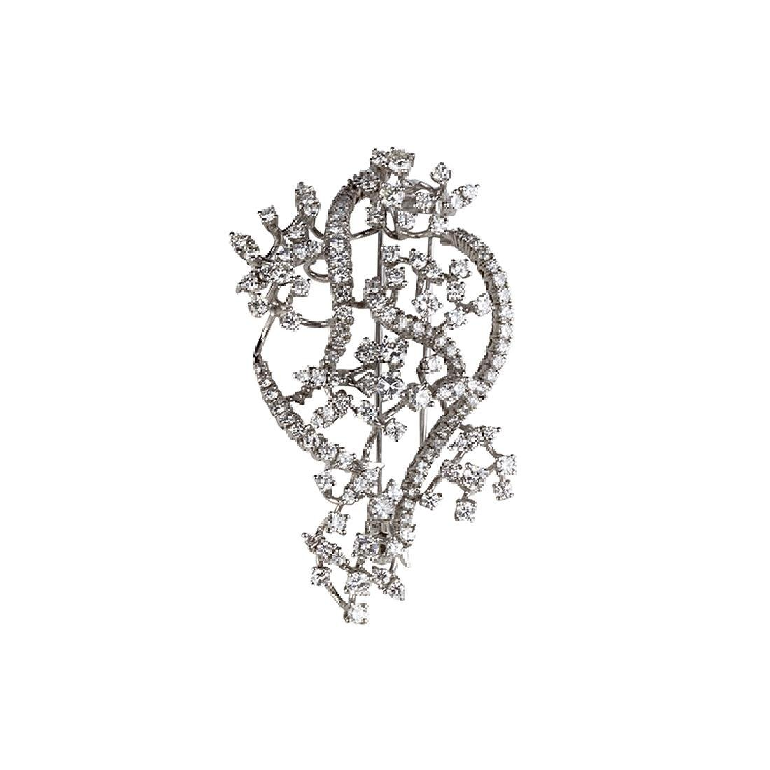 White gold brooch with brilliants