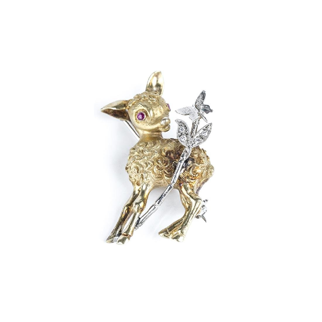 Little sheep-shaped brooch with butterfly