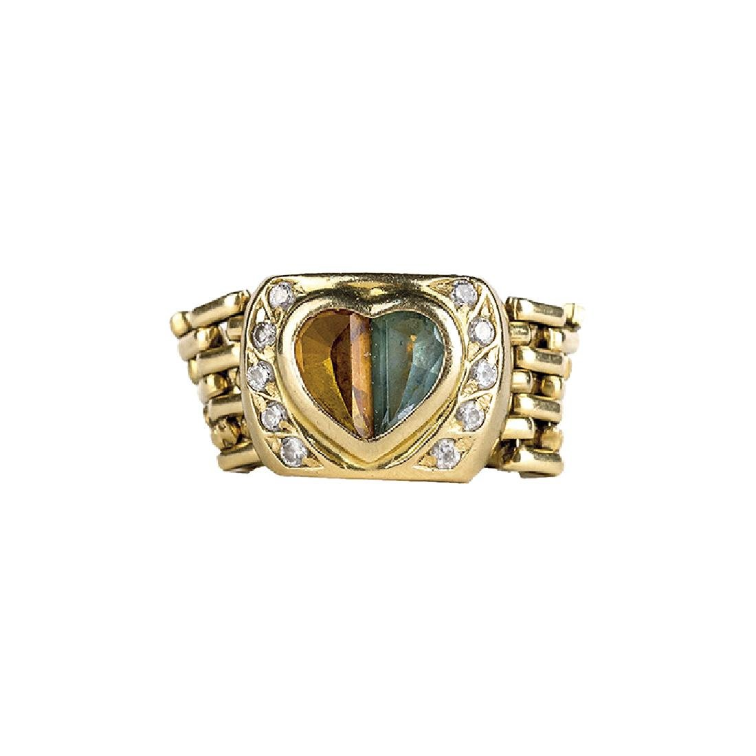 Gold ring with two heart-shaped stones