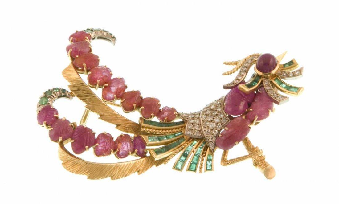 A colored-stone bird brooch