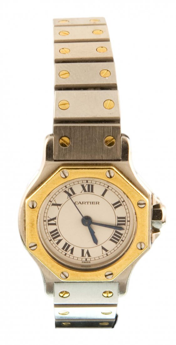 Cartier, a lady's gold and steel wristwatch
