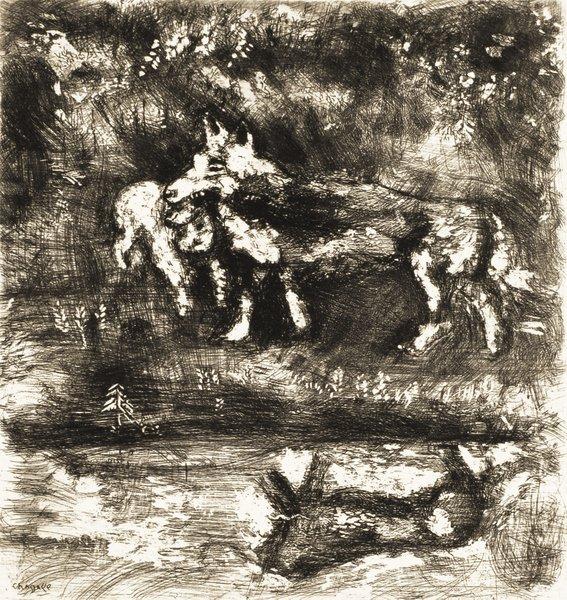 14B: MARC CHAGALL Fables de La Fontaine: Le Loup et l'A