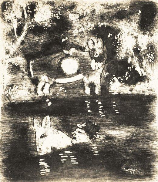 21B: MARC CHAGALL Fables de La Fontaine: L'Ane chargé d
