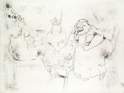 14: MARC CHAGALL  Set of 3 Etchings from Les Ames Morte