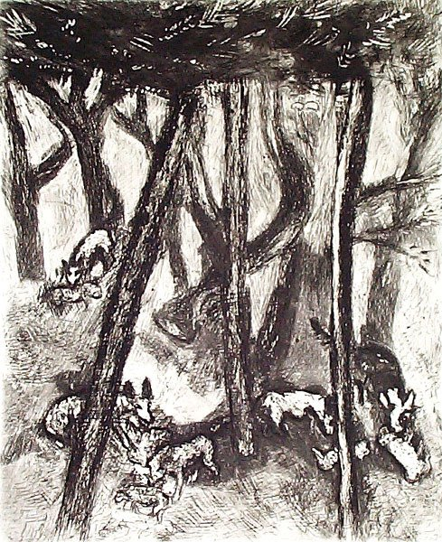 3: MARC CHAGALL Etching from the Fables de La Fontaine