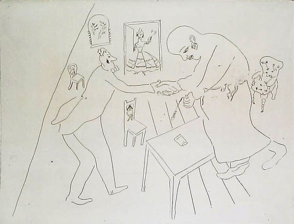 9: MARC CHAGALL  Etching from Les Ames Mortes Suite