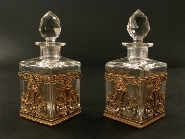 PAIR OF DORE BRONZE AND BACCARAT CRYSTAL PERFUME BOTTLE