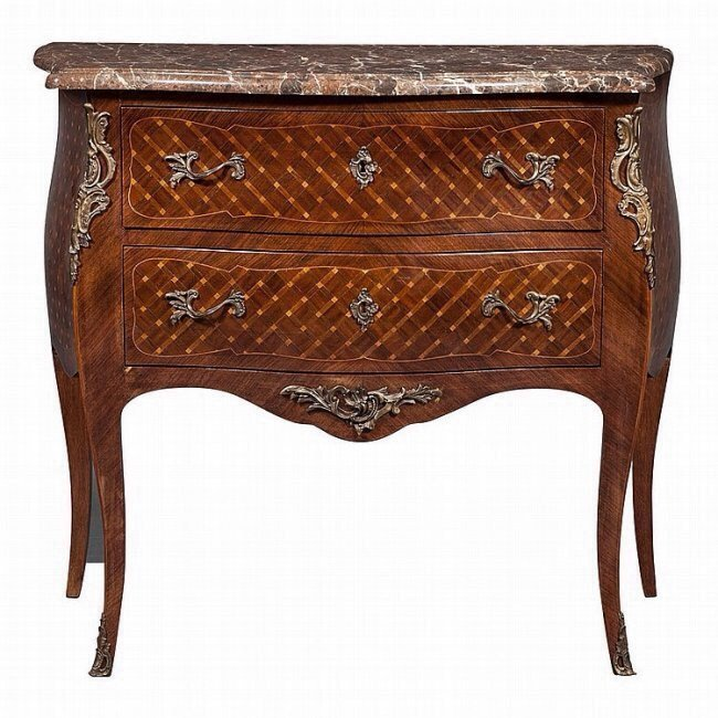 LOUIS XV PARQUETRY KINGWOOD COMMODE