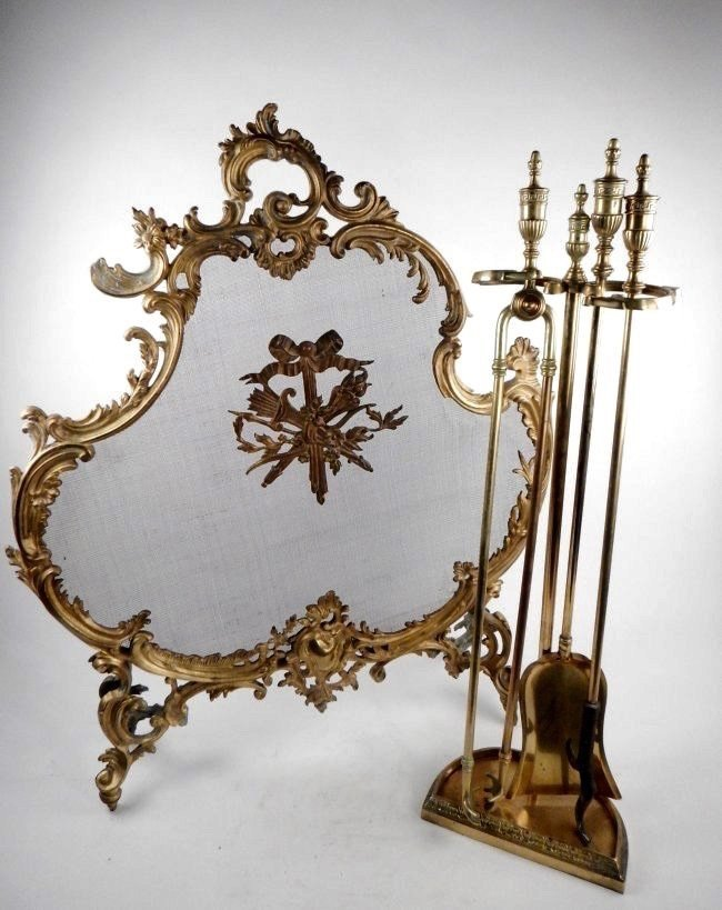 GILT BRONZE FIRE SCREEN AND TOOLS