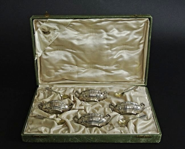ITALIAN SILVER SALTS WITH GLASS INSERTS & SPOONS