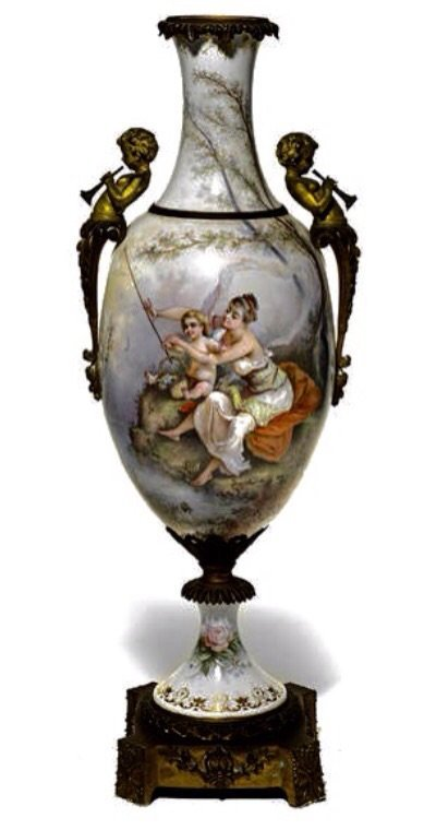 A LARGE 19TH C ORMOLU MOUNTED SEVRES VASE