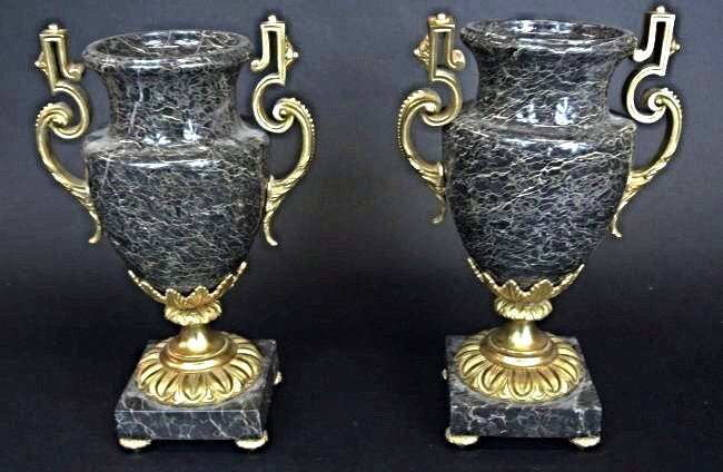 A PAIR OF GILT BRONZE MOUNTED MARBLE VASES
