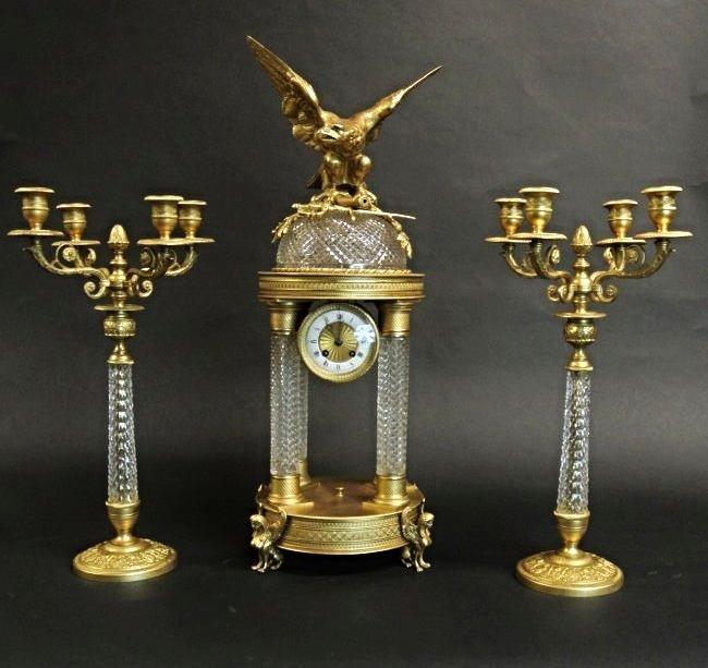 19TH CENTURY BACCARAT AND DORE BRONZE CLOCK GARNITURE