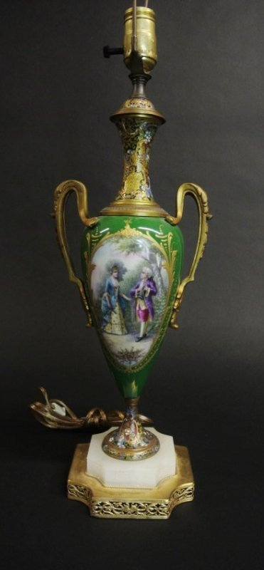 19TH CENTURY SEVRES AND CHAMPLEVE ENAMEL LAMP