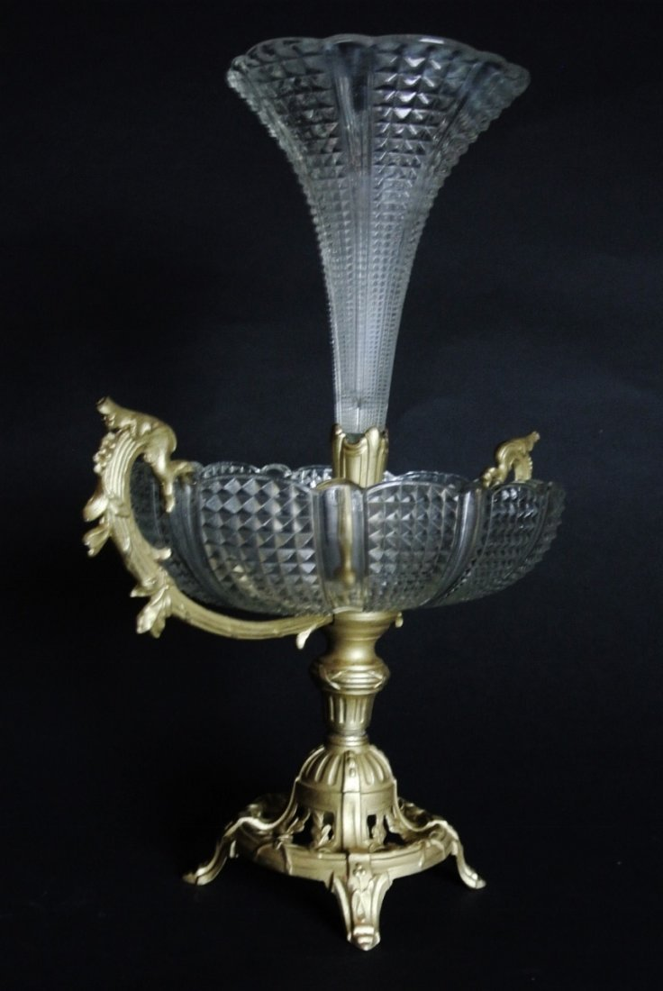 A BACCARAT STYLE CRYSTAL AND GILT BRONZE CENTERPIECE