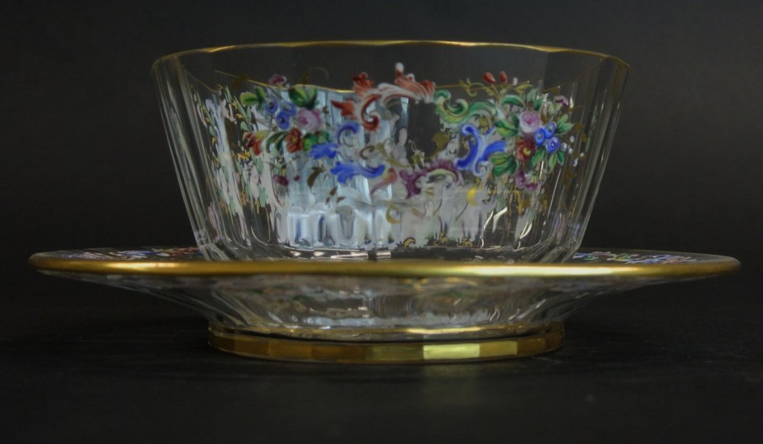 19TH CENTURY ENAMELLED FINGER BOWL AND UNDER PLATE