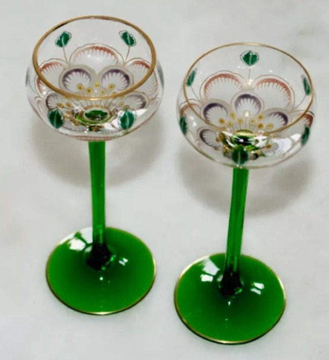 A PAIR OF MOSER THERESENTIAL CORDIALS