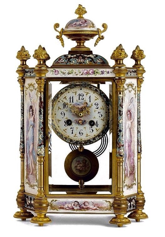 19TH CENTURY FRENCH CHAMPLEVE ENAMEL AND SEVRES CLOCK