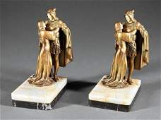 PAIR OF ANTIQUE FRENCH GILT BRONZE BOOK ENDS