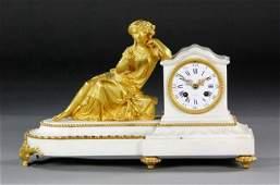 19TH CENTURY GILT BRONZE AND WHITE MARBLE CLOCK