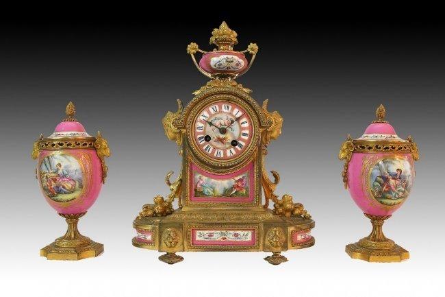 19TH CENTURY JEWELED SEVRES AND DORE BRONZE CLOCK SET