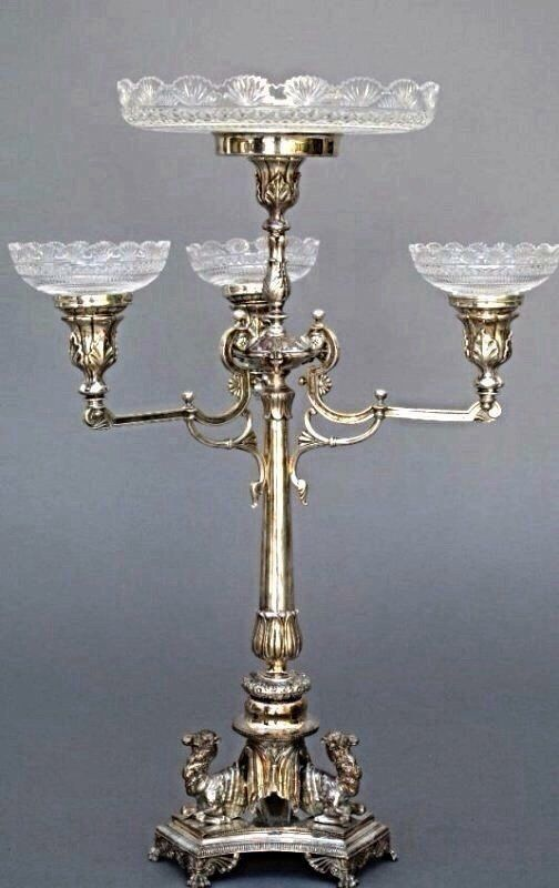 A LARGE SILVER PLATE CENTERPIECE WITH CUT CRYSTAL