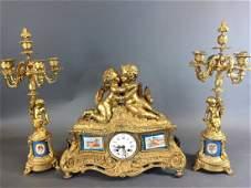 A VERY FINE 19TH CENTURY SEVRES AND ORMOLU CLOCK SET