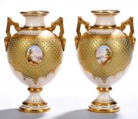 Pair Of 19th Century Jewelled Coalport Vases
