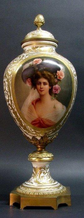 A Palatial 19th C. Royal Vienna Vase Signed Wagner