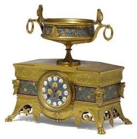 French Gilt Bronze And ChamplevÉ Clock F. Barbeddiene
