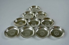 Set Of 10 Turkish Silver Nut Dishes