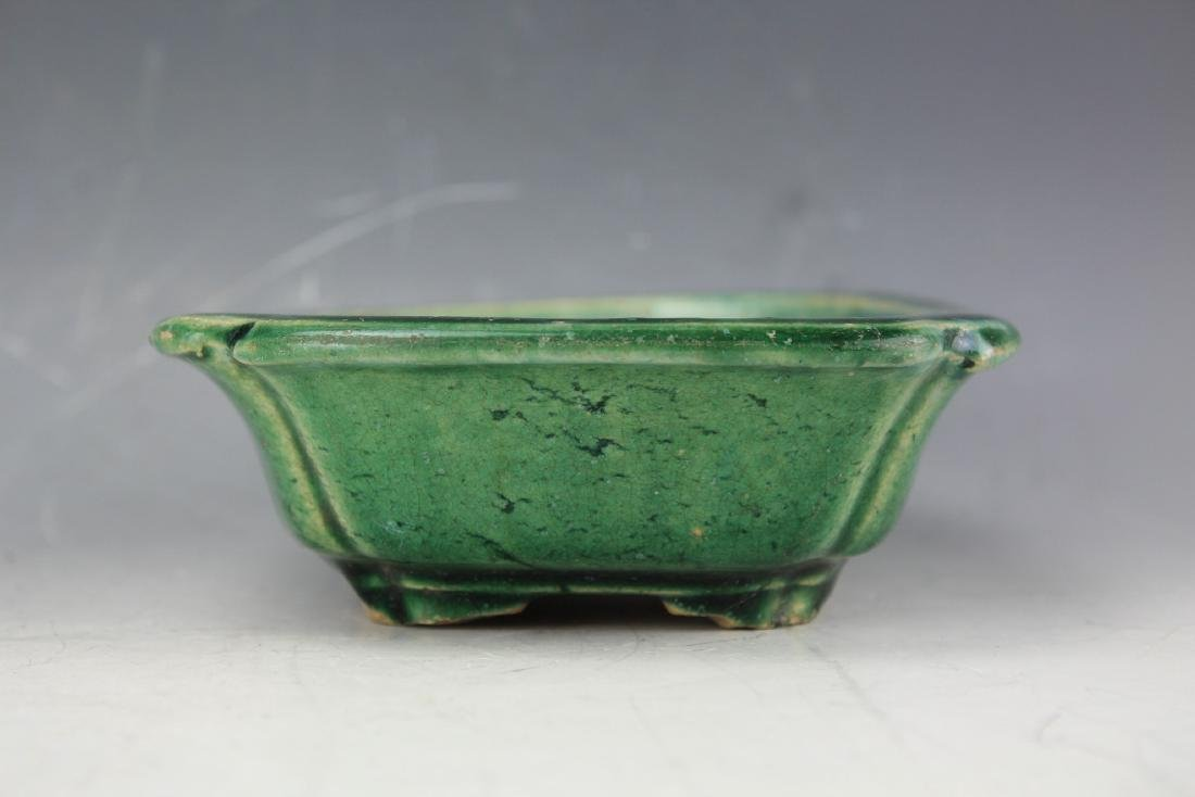 A Green underglazed Narcissus plate from late Qing - 3