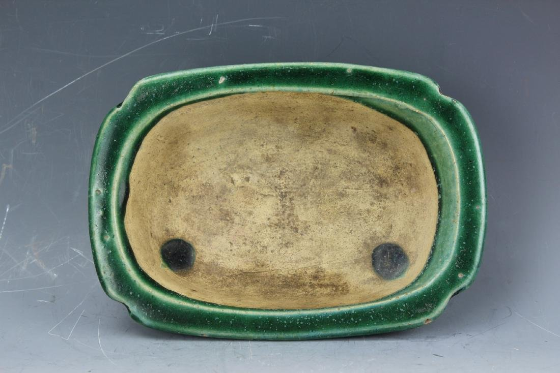 A Green underglazed Narcissus plate from late Qing - 7