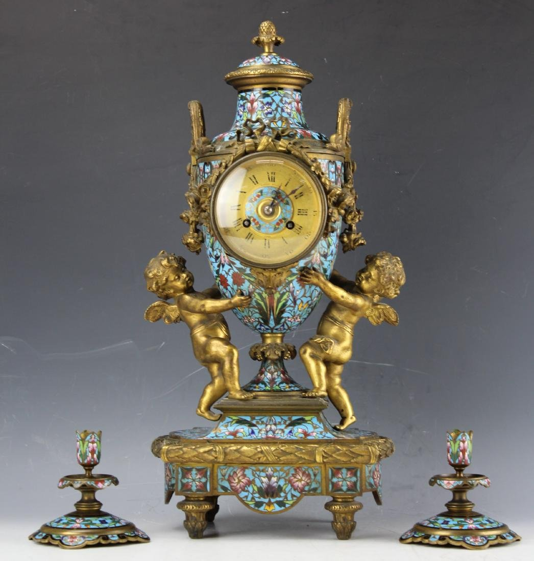 French gilt enamel clock by Anthony Bailey LYON 19th