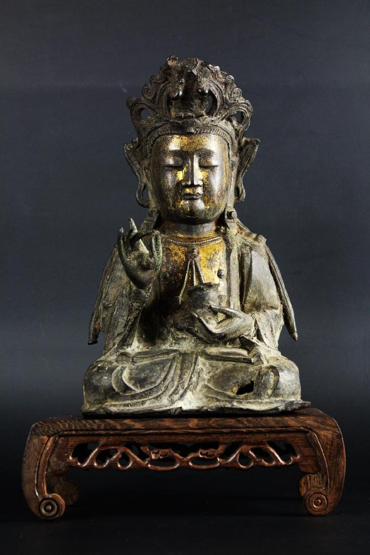 Gilt bronze Buddha Guan Yin from Ming Dynasty